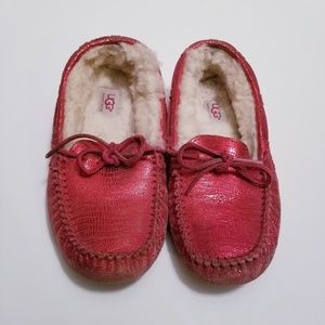 Uggs Size 7 Ruby Red Sparkly Fuzzy Slippers